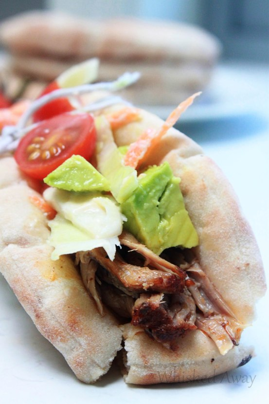 Shredded Rubbed Pork Gyros with Homemade Slaw